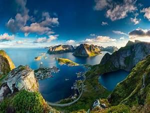 Mountain, Landscape, Nature, Sea, Sun, Sky, Clouds, Norway, Hd, Wallpaper, Wallpapers13, Com
