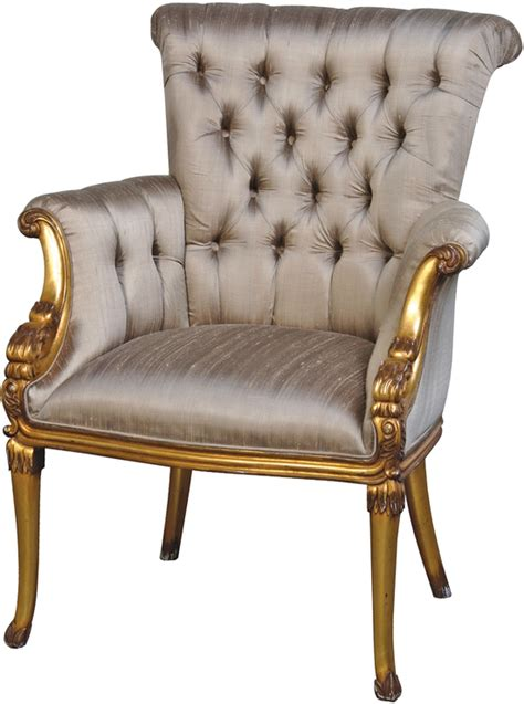 french gold chair  grey ivory button upholstery chairs