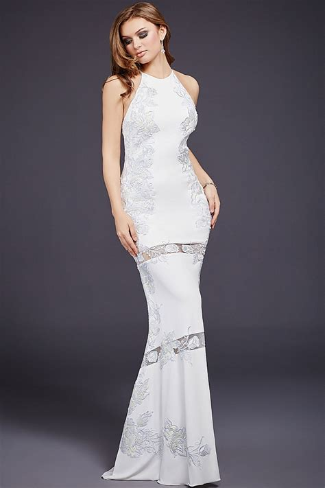 wedding dresses for white halter form fitting jersey floor length dress with 4652
