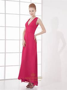Hot Pink V Neck Sleeveless Chiffon Bridesmaid Dress With ...