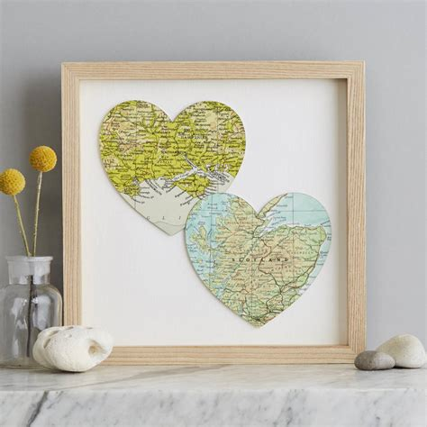 Two Map Hearts Wedding Anniversary Print By Bombus ...