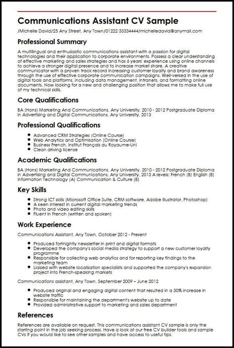 P G Resume Format by Communications Assistant Cv Sle Myperfectcv