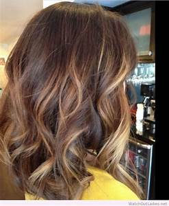 Perfect medium length with caramel colored highlights ...