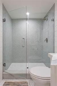 Gray, Herringbone, Pattern, Shower, Tiles, In, A, Walk