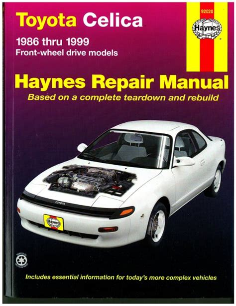 car maintenance manuals 1978 toyota celica head up display haynes toyota celica front wheel drive 1986 1999 auto repair manual