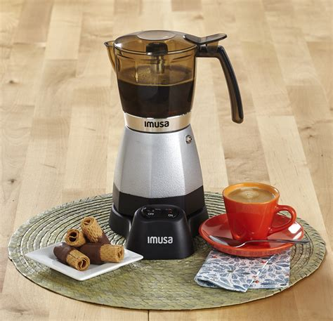 | imusa red electric coffee maker espresso cappuccino 3/6 cup cuban cafe cafetera. IMUSA IMUSA USA Electric Moka Maker 3 cup & 6 cup 480 Watts, Silver