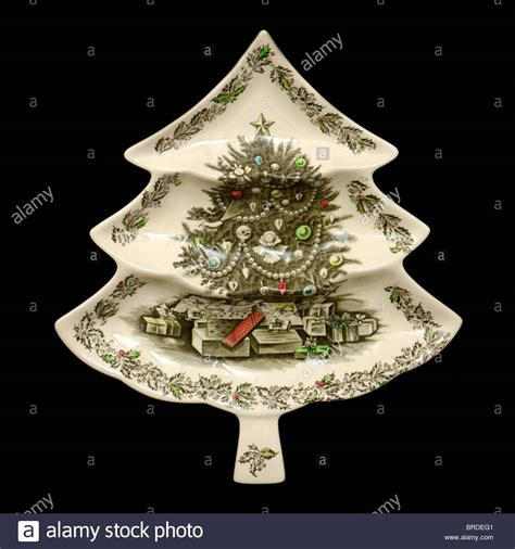 ceramic christmas tree shaped serving dish by johnson