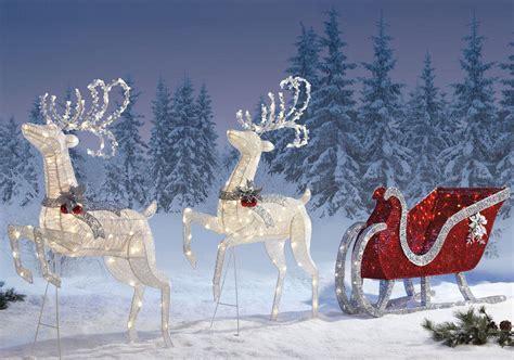 reindeer sleigh lawn decorations for christmas reindeer sleigh 400 led lights indoor outdoor garden decoration 2 deer ebay