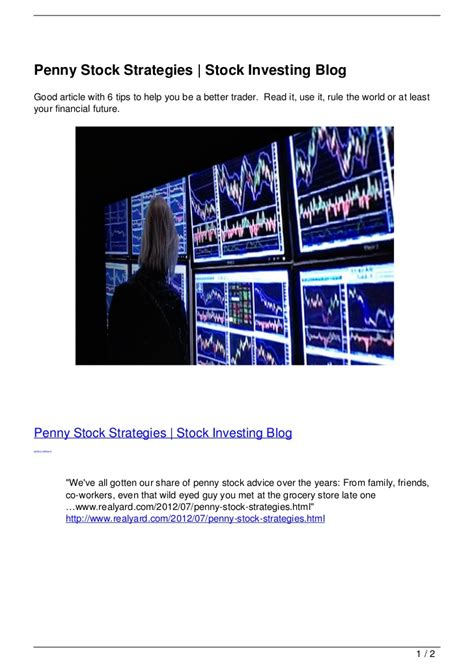 penny stock strategies stock investing blog