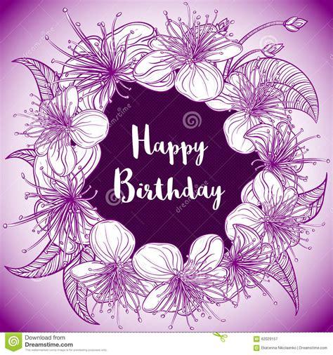 happy birthday card  wreath  exotic flowers