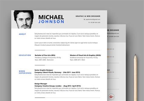 resume cv psd template graphicsfuel