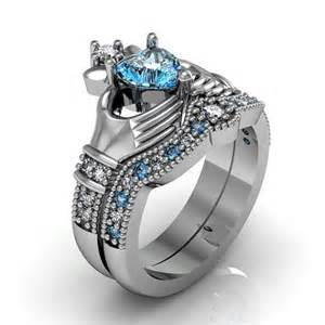blue topaz engagement ring claddagh ring sterling silver blue topaz and friendship engagement ring set 2242513