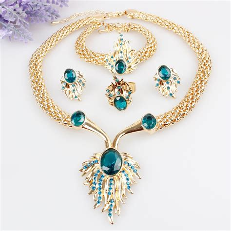 gold plated jewelry sets statement necklace acrylic