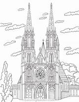 Coloring Cathedral Pages Adult Printable Colouring Architecture Sheets Coloringgarden Drawing Template Pencil Drawings Adults St Pen Quilling Mandala Pdf Format sketch template