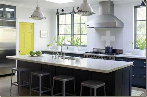 Kitchen Window Decorating Ideas - yellow color accents jazz up elegant dark gray kitchen decorating