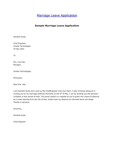 marriage leave letter format  template collection