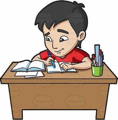 Homework Studying Clipart Clip Students Doing Boy