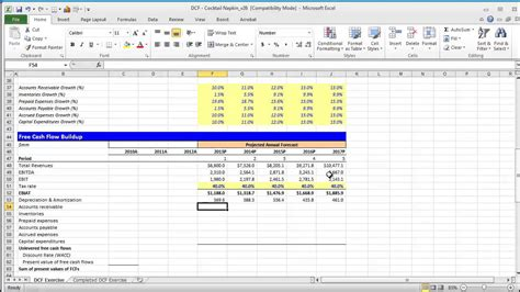 dcf template discounted flow spreadsheet excel