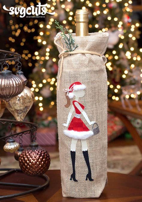 wine burlap santa baby svg christmas bag holder helton kathy fabric svgcuts