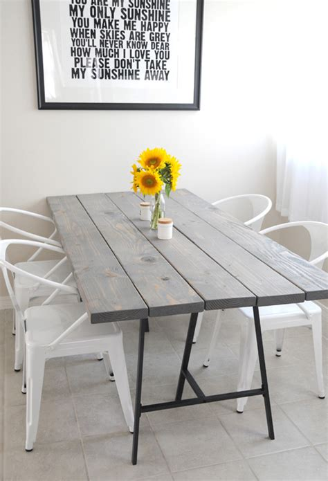diy minimalist dining table simple diy dining table with colorful legs home interior