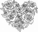 Coloring Roses Heart Printable Rose Flower Sheets sketch template