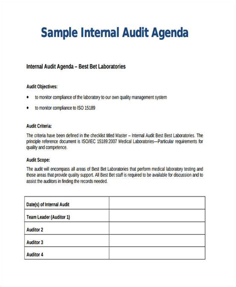 Audit Scope Template by Audit Agenda Templates 9 Free Word Pdf Format Downlaod