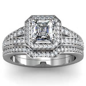 halo ring with wedding band asscher cut halo engagement ring wedding set engagement rings review