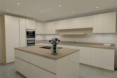 brand  leicht laminate white gloss handleless kitchen