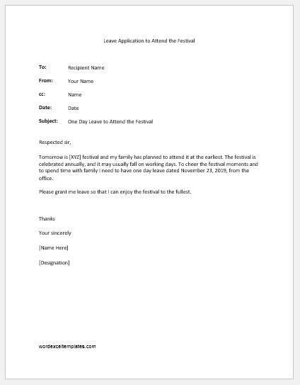 One Day Leave Applications Letters Samples | Word & Excel