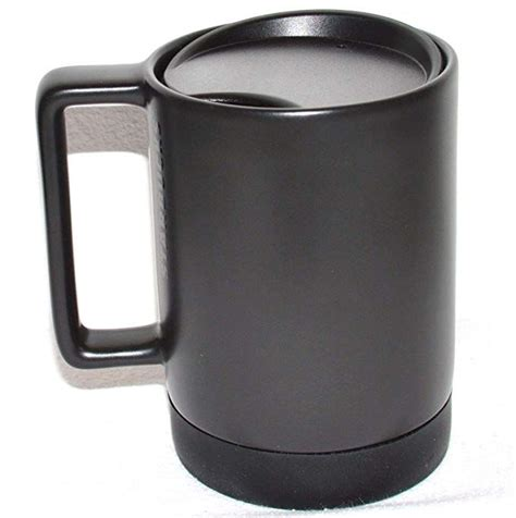Comes with a pad printed drink size and a generous handle to fit anybody's hand. Starbucks Black Ceramic Desktop Mug Silicone Nonslip Bottom with press-in Lid , 14 Fl Oz ...