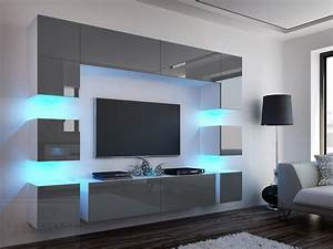 Tv Wand Weiß : kaufexpert wohnwand quadro grau hochglanz wei 228 cm mediawand medienwand design modern led ~ Sanjose-hotels-ca.com Haus und Dekorationen