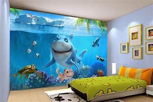 papier peint photo personnalise paysage fond marin pour With tapisserie chambre d enfant