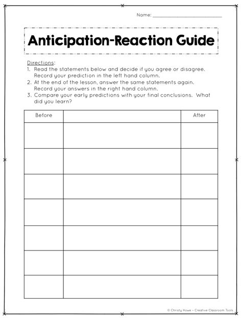 anticipation guide template hook your students anticipation guides creative classroom tools