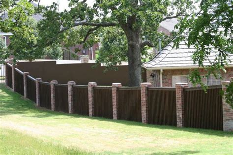brick and wood fence pictures brick column and wood fence fence pinterest
