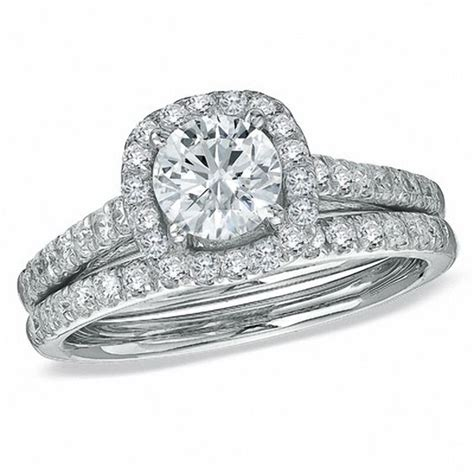 zales rings for wedding 1 3 4 ct t w diamond framed bridal in 14k white gold engagement rings wedding zales