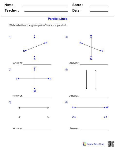 geometry worksheets parallel  perpendicular lines