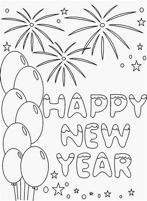 happy  year  coloring pages    print