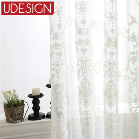 european white embroidered voile curtains bedroom sheer