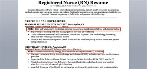 resume skils section nursing registered nurse rn resume sle tips resume companion