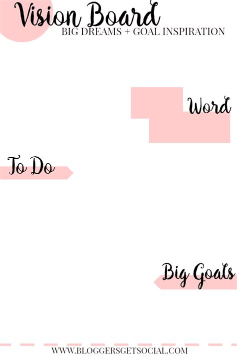 Vision Board Template Vision Board Vibes Track Your Goals Get Social