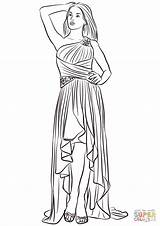 Coloring Pages Prom Low Shoulder Printable Drawing Paper Dot sketch template