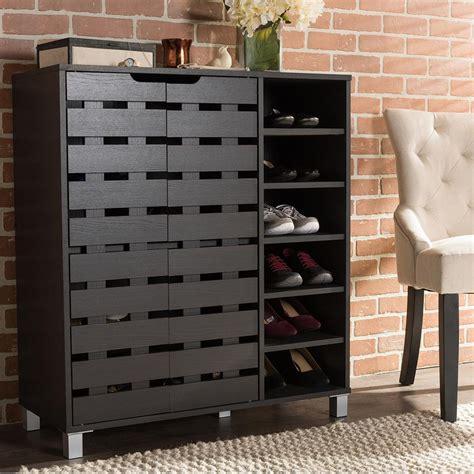 baxton studio shirley dark brown wood storage cabinet   hd  home depot