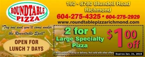round table pizza cloverdale 1 00 off 2 for 1 large specialty pizzas at round table