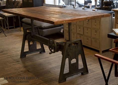 table cuisine industrielle table de repas industrielle lepic plateau bois et pied