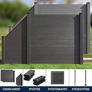 Wpc zaun sichtschutzzaun gartenzaun windschutz terrasse for Französischer balkon mit gartenzaun kunststoff grau
