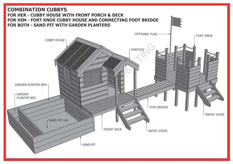 cubby house fort sand pit combo build   kids