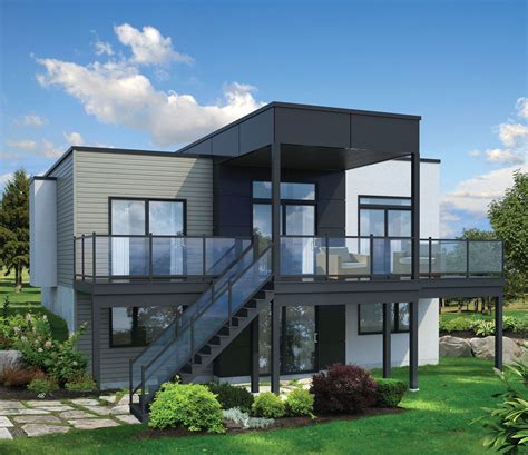 bed modern house plan  sloping lot pm