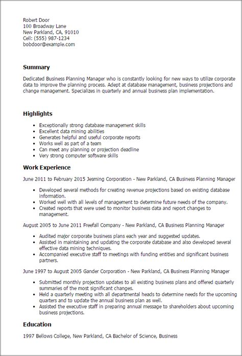 business planning manager resume templates