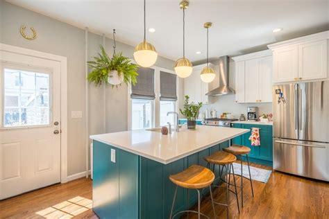 teal kitchen island ideas  inspiration hunker