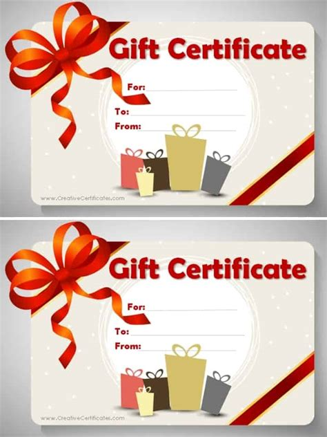 gift card template free gift certificate template customize and print at home